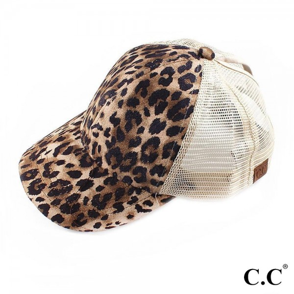 C.C BT-44 Faux Suede Leopard Print Baseball Cap  - One size fits most  - Adjustable Velcro Closure - 100% Polyester