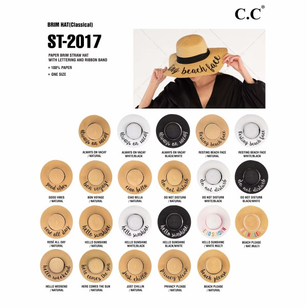 """C.C ST-2017 (Natural) """"Always On Vacay"""" paper straw wide brim sun hat with ribbon  - One size fits most - Inside adjustable drawstring - Brim width 4.5"""" - 100% Paper"""