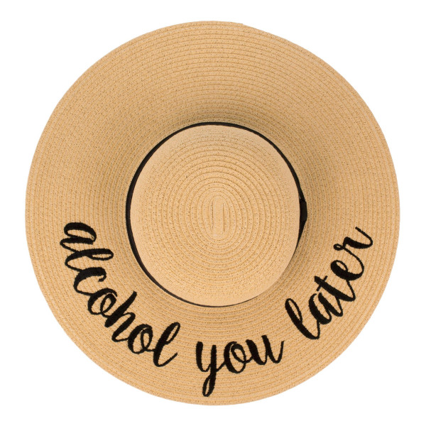 "C.C ST-2017 (Natural) Alcohol You Later paper straw wide brim sun hat with ribbon  - One size fits most - Inside adjustable drawstring - Brim width 4.5"" - 100% Paper"