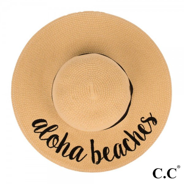 "C.C ST-2017 (Natural) Aloha Beaches paper straw wide brim sun hat with ribbon  - One size fits most - Inside adjustable drawstring - Brim width 4.5"" - 100% Paper"