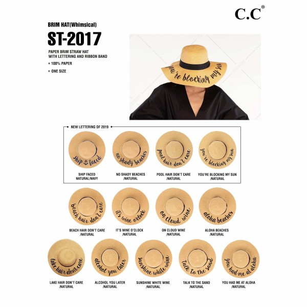 "C.C ST-2017 (Natural) ""Beach Hair Don't Care"" paper straw wide brim sun hat with ribbon  - One size fits most - Inside adjustable drawstring - Brim width 4.5"" - 100% Paper"