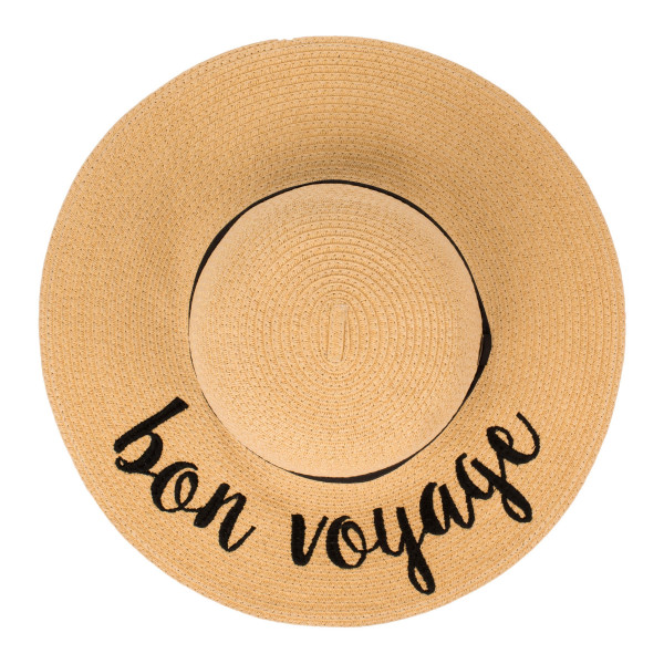 "C.C ST-2017 (Natural) Bon Voyage paper straw wide brim sun hat with ribbon  - One size fits most - Inside adjustable drawstring - Brim width 4.5"" - 100% Paper"