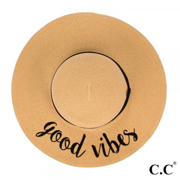 "C.C ST-2017 (Natural) ""Good Vibes"" paper straw wide brim sun hat with ribbon  - One size fits most - Inside adjustable drawstring - Brim width 4.5"" - 100% Paper"