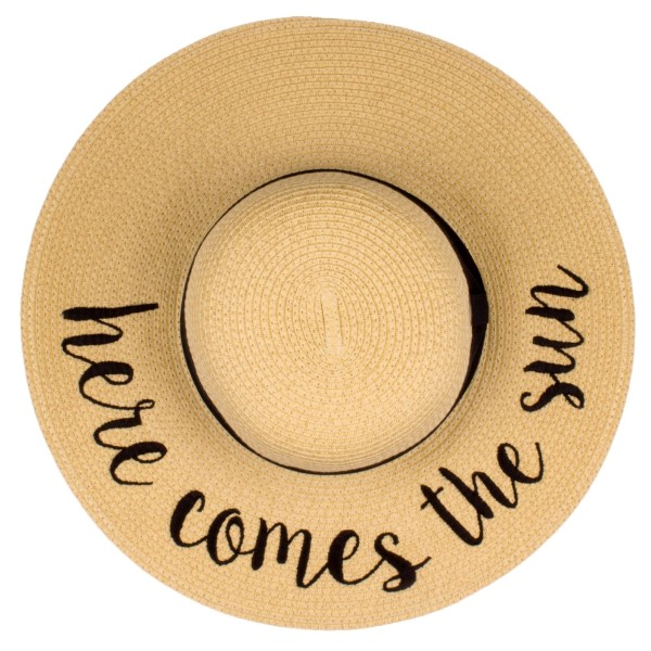 Wholesale c C ST Natural Here Comes Sun paper straw brim sun hat ribbon One fits