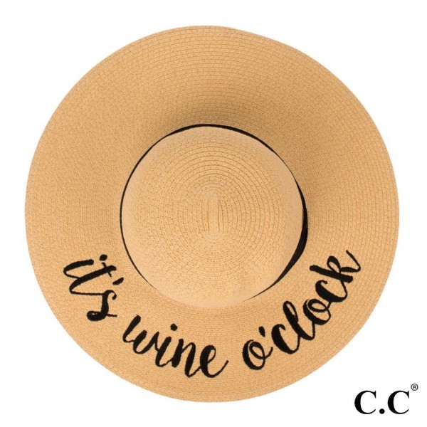 """C.C ST-2017 (Natural) """"It's Wine O'Clock"""" paper straw wide brim sun hat with ribbon  - One size fits most - Inside adjustable drawstring - Brim width 4.5"""" - 100% Paper"""