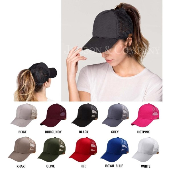 CC Pony Cap BT-4  Solid Color Baseball Cap with Mesh Back  - One size fits most - Adjustable Velcro Closure  - 60% Cotton / 40% Polyester