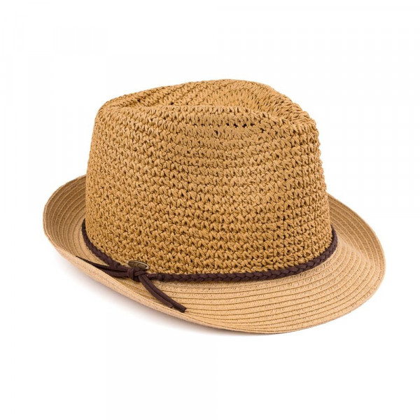 "C.C Brand fedora hat with a braided accent around the brim. 95% paper and 5% polyester. Approximately 9.5"" in total diameter. UPF 50+"