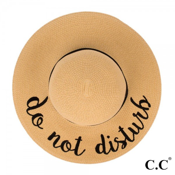 "C.C ST-2017 (Natural) Do Not Disturb paper straw wide brim sun hat with ribbon  - One size fits most - Inside adjustable drawstring - Brim width 4.5"" - 100% Paper"