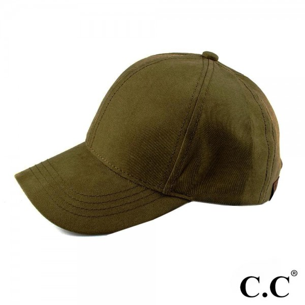 C.C brand water silk fabric baseball cap. Suede-like finish. 100% polyester. One size fits most.