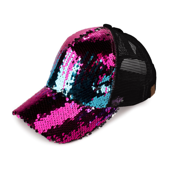 C.C Brand Pony Cap. BT-723 Reversible sequin ponytail baseball cap with mesh back. Sequins are different colors on the front and back. Adjustable velcro back with CC leather logo on back. 100% polyester. Sequin color may vary with each hat.