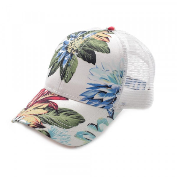 C.C brand floral print trucker's cap. 100% cotton. One size fits most.