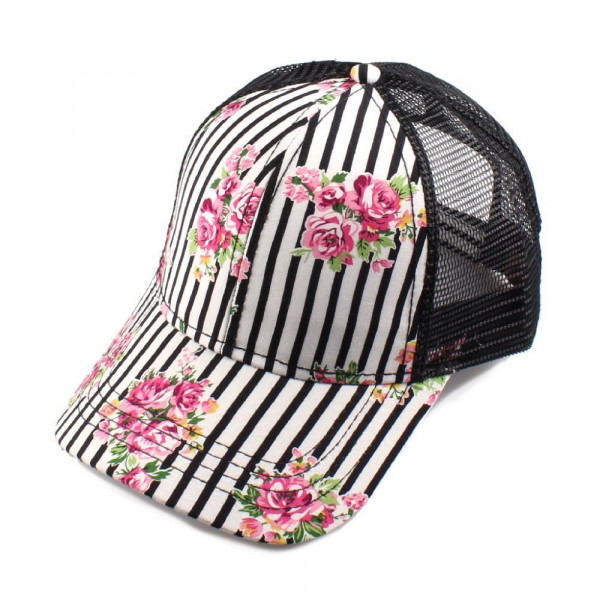 C.C Brand BT-1010, striped and floral baseball cap with mesh back. Adjustable velcro back with CC leather Logo on back. 100% polyester