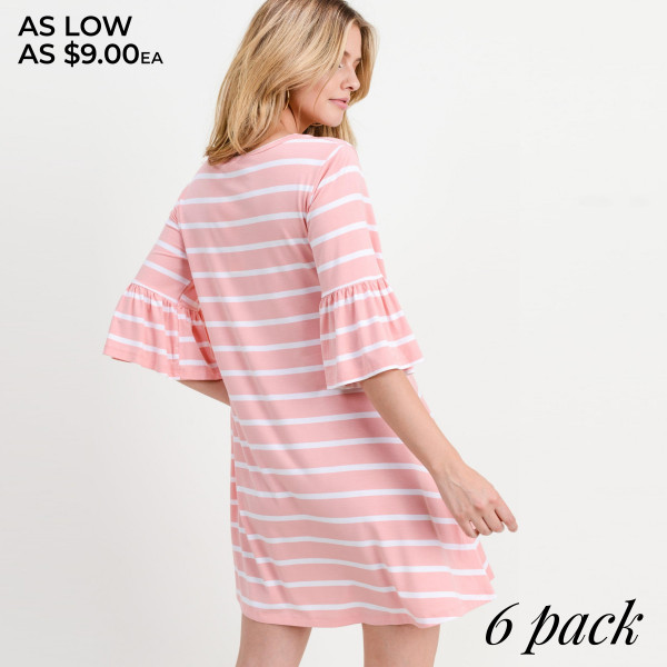 "Women's Striped Ruffle 3/4 Sleeve Dress.  -3/4 sleeves with ruffled cuffs  -Round neckline  -Striped print  -Relaxed hem  -Soft and stretchy  -Imported  -Machine wash cold, lay flat to dry    - Pack Breakdown: 6pcs/pack  - Sizes: 2-S / 2-M / 2-L  - Approximately 34"" L - 95% Rayon / 5% Spandex"