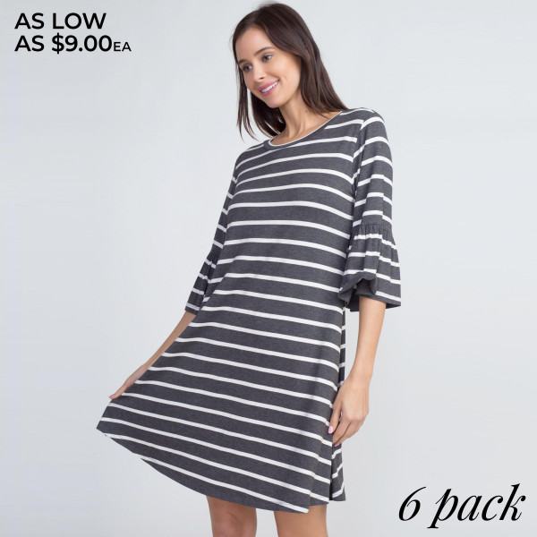 """Women's Striped Ruffle 3/4 Sleeve Dress.  -3/4 sleeves with ruffled cuffs  -Round neckline  -Striped print  -Relaxed hem  -Soft and stretchy  -Imported  -Machine wash cold, lay flat to dry    - Pack Breakdown: 6pcs/pack  - Sizes: 2-S / 2-M / 2-L  - Approximately 34"""" L - 95% Rayon / 5% Spandex"""