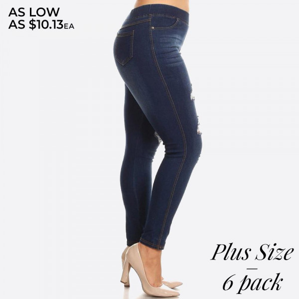 Women's Plus classic distressed skinny jeggings.  - Super stretchy  - Pull up style  Denim shade and tone may vary.  Please note, this brand runs very small. Be sure to check measurements on size chart for the most accurate fit.   - Pack Breakdown: 6pcs/pack - Sizes: 2-XL / 2-2XL / 2-3XL - 76% Cotton, 22% Polyester, 2% Spandex