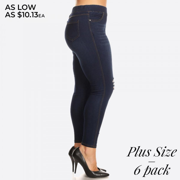 Women's Plus Size Classic Distressed Dark Denim Skinny Jeggings.
