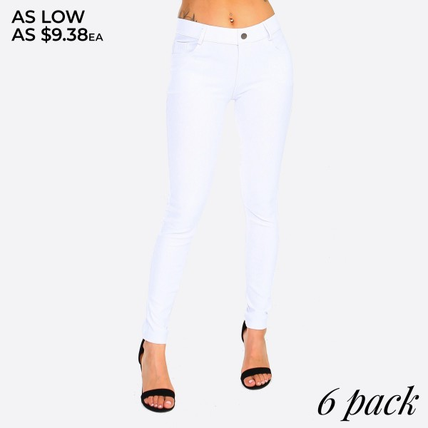 "Women's classic skinny jeggings.  • Full length jeggings featuring a light sheen and jean-style • Lightweight, breathable cotton-blend material   • Belt loops with 5 functional pockets  • Shake Head Button  • Super Stretchy  • Pull up Style    - Pack Breakdown: 6pcs/pack - Size: 2-S / 2-M / 2-L  - Inseam approximately 29"" L - 70% Cotton, 25% Polyester, 5% Spandex"