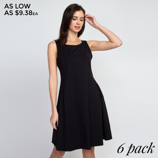 This adorable a-line dress features a sleeveless silhouette and two side pockets for carrying loose items.   Breakdown: 6pcs / pack  Sizes: 2S/ 2M / 2L.  • Sleeveless, round neck  • Two functional pockets at hips • A-line silhouette  • Knee length hem  • Stretchy and soft  • Import   Composition: 92% Cotton 8% Spandex.