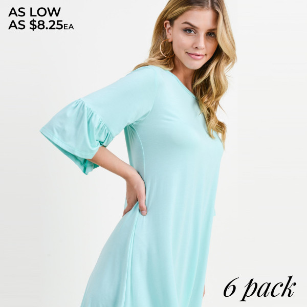 """Women's solid peplum 3/4 sleeve dress.  • 3/4 sleeves with peplum cuffs • Roundneck • Soft and stretchy • Relaxed knee length hem • Very soft, stretchy • Pull over styling • Imported  - Pack Breakdown: 6pcs/pack - Sizes: 2-S / 2-M / 2-L - Approximately 34"""" L  - 95% Rayon, 5% Spandex"""