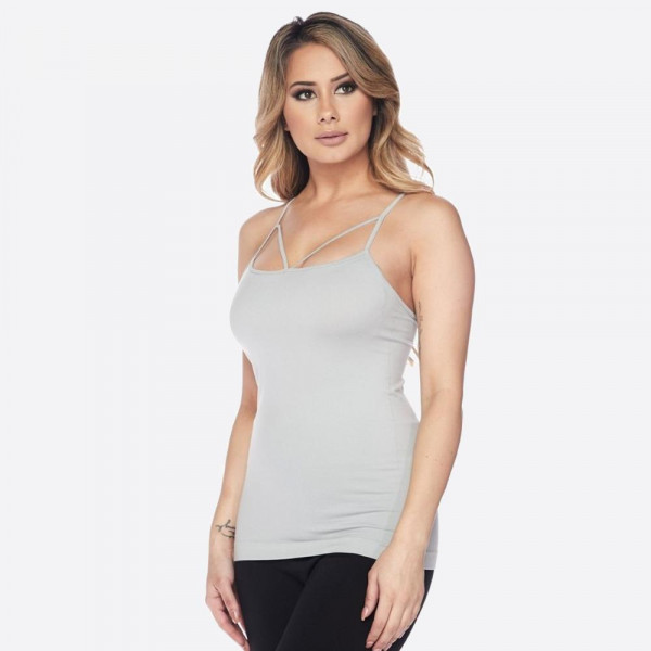 Women's Solid Color Seamless Criss Cross Camisole.  • Criss cross detail neckline  • Seamless design  • Longline hem   • Spaghetti Straps  • Ultra Soft  • Curve-Hugging • Body Contouring • Stretchy Knit  • Machine Wash  • Imported   - One size fits most 0-14 - 92% Nylon / 8% Spandex