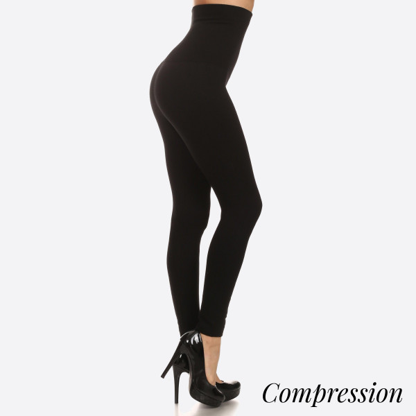 "Women's High Waisted Cotton Compression Leggings.  • Long, skinny leg design • Does not ball or pill • Comfortable and easy pull-on style • Very Stretchy • Tummy Control • Hight Waist • 8"" Waist Band  - One size fits most 0-14 - 50% Cotton, 45% polyester, 5% spandex"