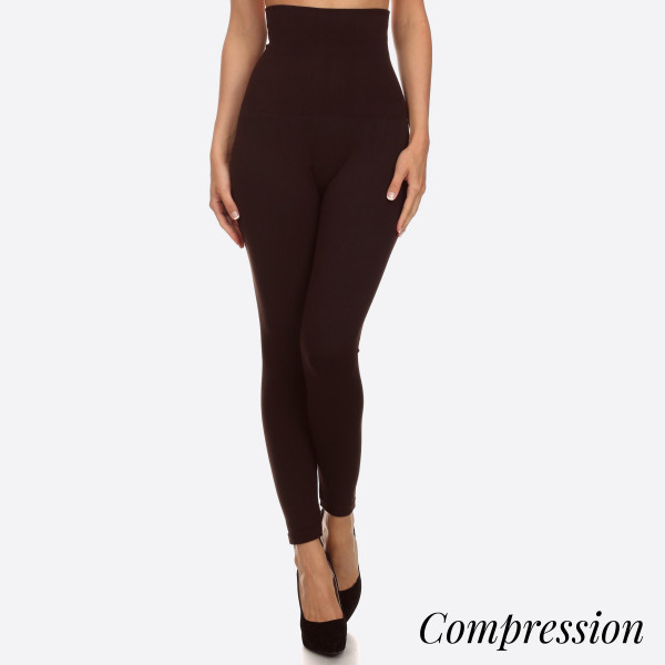 Wholesale women s solid cotton waist compression leggings o Long skinny leg o Do