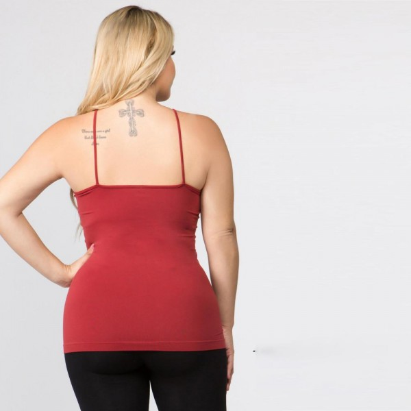 "Women's Solid Plus Size Triple Criss Cross Seamless Camisole.  • Scoop-neck • Unique Crisscross Front • Spaghetti Straps • Ultra Soft • Stretchy Knit • Machine Wash • Imported  - One size fits most 16-22 - Approximately 25"" L - 92% Nylon / 8% Spandex"