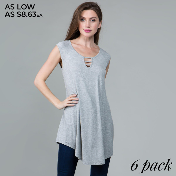This basic tunic dress looks and feels amazing. It's highly versatile with a sleeveless design and cutout neckline detail. 95% rayon- 5% spandex. Comes in 6 pack. Breakdown: 1S 2M 2L 1XL.