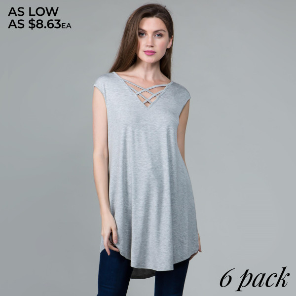 This basic tunic dress looks and feels amazing, and is highly versatile. Includes criss cross v-neck and cap sleeves. 95% rayon- 5 % spandex. Comes in 6 pack. Breakdown: 1S 2M 2L XL.