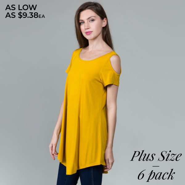 "Solid color plus size tunic top/dress. Approximately 35"" in length.  - Scoop neckline  - Cold shoulder - Criss cross back   - Pack Breakdown: 6pcs / pack - Sizes: 2-XL / 2-1X / 2-2X - 95% Rayon, 5% Spandex"