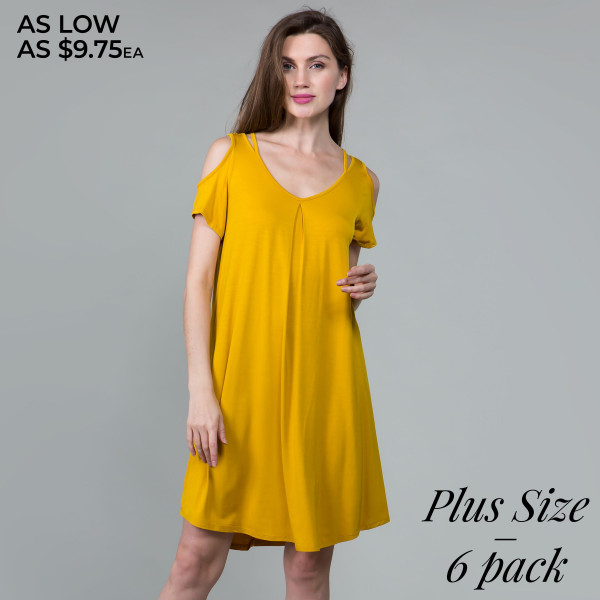 This basic tunic dress looks and feels amazing, and it's highly versatile with modal cold shoulder details. 95% rayon- 5% spandex. Comes in 6 pack. Breakdown: 2-1xl, 2-2xl, 2-3xl.