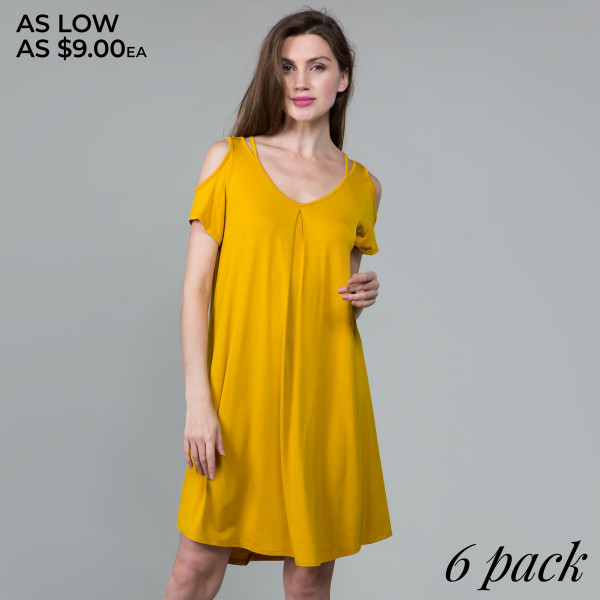 This basic tunic dress looks and feels amazing, and it's highly versatile with modal cold shoulder details. 95% rayon- 5% spandex. Comes in 6 pack. Breakdown: 1S 2M 2L XL.