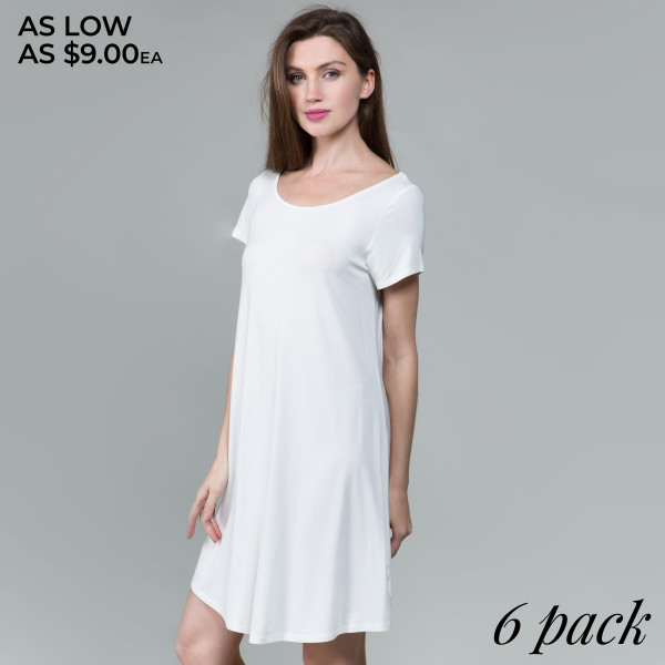 This basic tunic dress looks and feels amazing.it's highly versatile 95% rayon- 5 % spandex. Comes in 6 pack. Breakdown 1S 2M 2L XL.
