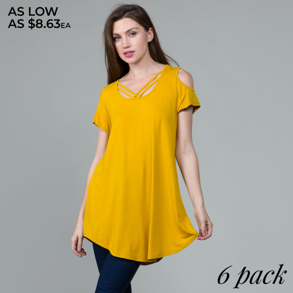 This basic tunic dress looks and feels amazing. It's highly versatile with a criss cross neckline and cutout sleeves. 95% rayon- 5% spandex. Comes in 6 pack. Breakdown: 1S 2M 2L 1XL.