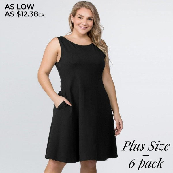 """Women's Plus solid sleeveless comb cotton A-line dress with pockets.  • Sleeveless, round neck  • Two functional pockets at hips • A-line silhouette  • Knee length hem  • Stretchy and soft  • Imported  - Pack Breakdown: 6pcs / pack - Sizes: 2-XL / 2-2XL / 2-3XL - Approximately 34"""" L - 92% Rayon, 8% Spandex"""