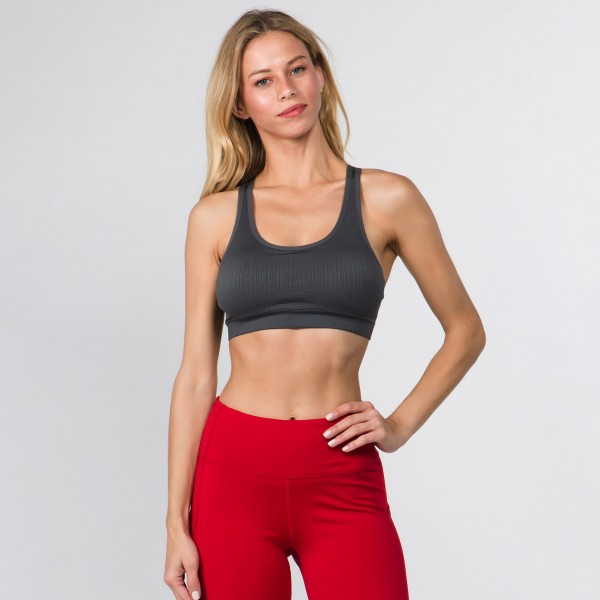 Women's Active Ribbed Macrame Cut Cut Sports Bra.   • Scoop Neck • Removable padding shapes & supports • Rib knit texture • Macrame cut out back detail • Seamless design • Soft and stretchy • Pull Over Style • Compressive Fit  - Pack Breakdown: 6 Bras Per Pack - Sizes: 2-S / 2-M / 2-L - 94% Nylon, 6% Spandex