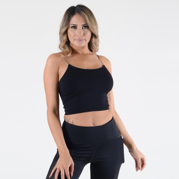 Women's Solid Seamless Crop Camisole.  • Soft, comfortable thin straps • Cropped • Soft and stretchy • Seamless design • Perfect for layering • Very Stretchy • One Size Fits Most, Mid Rise • Fits like a Glove • Hand Wash Cold, Hang Dry • Imported  - One size fits most 0-14 - 92% Nylon / 8% Spandex