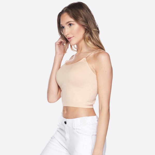 Women's Solid Color Seamless Crop Camisole.  • Soft, comfortable thin straps • Cropped • Soft and stretchy • Seamless design • Perfect for layering • Very Stretchy • One Size Fits Most, Mid Rise • Fits like a Glove • Hand Wash Cold, Hang Dry • Imported  - One size fits most 0-14 - 92% Nylon / 8% Spandex
