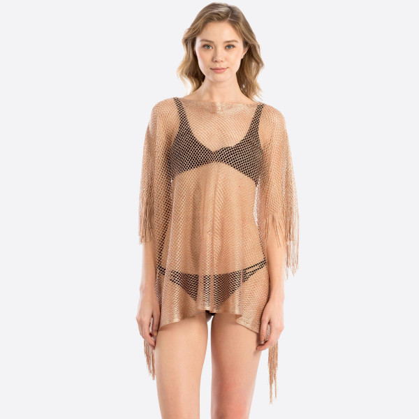 Wholesale metallic net cover up fringes polyester
