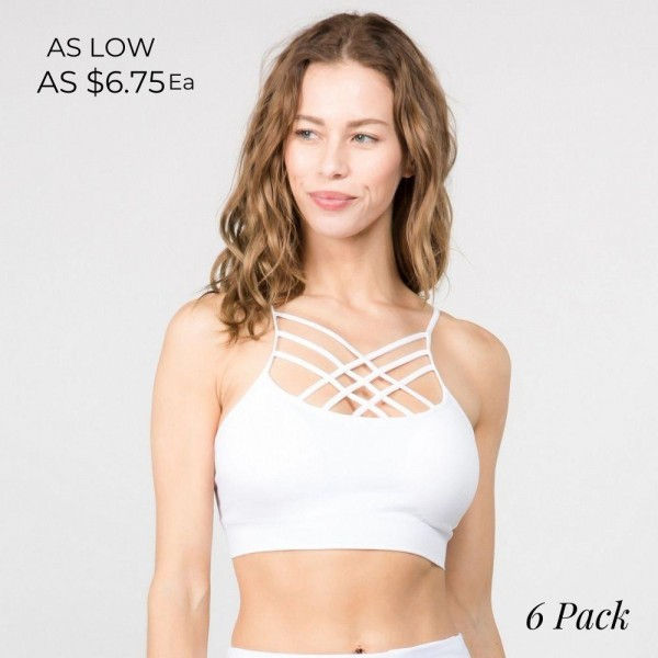 Sweat it out in this seamless sports bra with an eye-catching front detail and a supportive fit.  • Comfortable caged straps on neckline  • Two removable pads for light support & shaping  • Seamless design reduces chaffing  • Soft, stretchy, moisture wick fabric  • Closure Style: Pullover  • Hand Wash Cold. Hang Dry. Do not Bleach  • Imported   Composition: 92% Nylon, 8% Spandex   Pack Breakdown: 6pcs/pack.  Size: 2S: 2M: 2L  FITS MOST 0-14