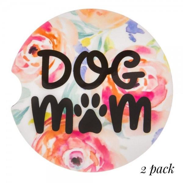 Wholesale dog Mom floral printed car coaster set Pack Breakdown pcs pack diamet