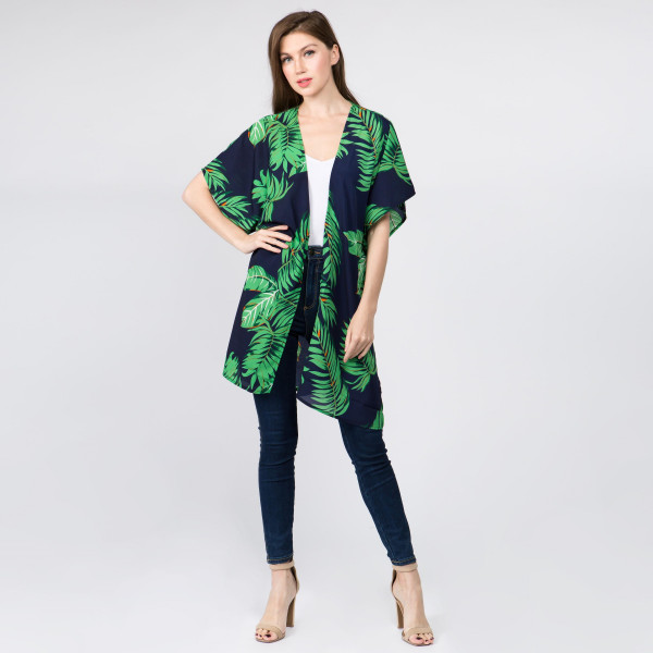 "Do everything in Love Brand Lightweight Palm Leaf Print Kimono.  - One size fits most 0-14 - Approximately 35"" L  - 100% Polyester"