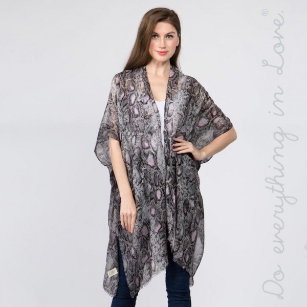 "Do everything in Love Brand Women's Lightweight Sheer Snakeskin Kimono.  - One size fits most 0-14 - Approximately 37"" L - 100% Polyester"