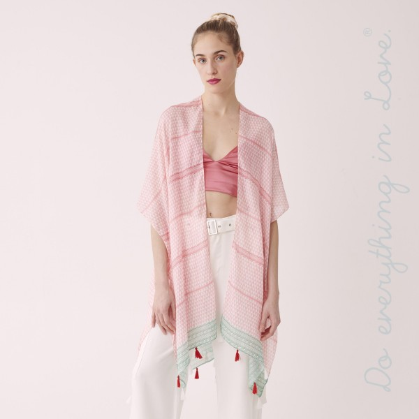 """Do everything in Love brand women's lightweight triangle geometric kimono with tassels.  - One size fits most 0-14 - Approximately 37"""" L - 100% Polyester"""