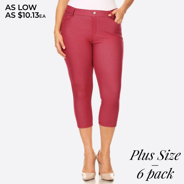 "Women's Classic Plus Size Capri Jeggings.  • Capri jeggings featuring a light sheen and jean-style • Lightweight, breathable cotton-blend material  • Belt loops with 5 functional pockets • Super Stretchy • Pull up Style  - Pack Breakdown: 6pcs/pack - Sizes: 2-XL / 2-2XL / 2-3XL - Inseam approximately 25"" L - 68% Cotton / 27% Polyester / 5% Spandex"