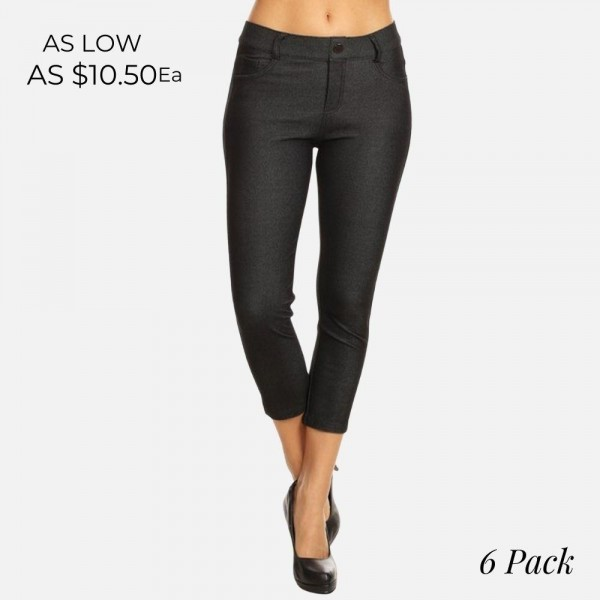 "Women's Classic Skinny Capri Jeggings.  • Capri jeggings featuring a light sheen and jean-style  • Lightweight, breathable cotton-blend material  • Belt loops with 5 functional pockets • Super Stretchy • Pull up Style  - Pack Breakdown: 6pcs/pack - Sizes: 2-S / 2-M / 2-L - Inseam approximately 25"" L - 68% Cotton / 27% Polyester / 5% Spandex"