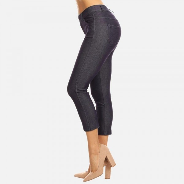 """Women's Classic Skinny Capri Jeggings.  • Capri jeggings featuring a light sheen and jean-style  • Lightweight, breathable cotton-blend material  • Belt loops with 5 functional pockets • Super Stretchy • Pull up Style  - Pack Breakdown: 6pcs/pack - Sizes: 2-S / 2-M / 2-L - Inseam approximately 25"""" L - 68% Cotton / 27% Polyester / 5% Spandex"""