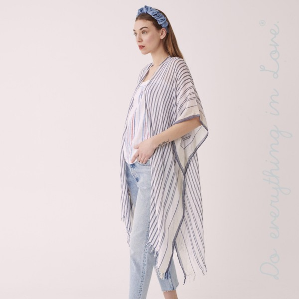 "Do everything in Love brand lightweight sheer stripe kimono.  - One size fits most 0-14 - Approximately 37"" L - 55% Viscose, 40% Cotton, 5% Lurex"