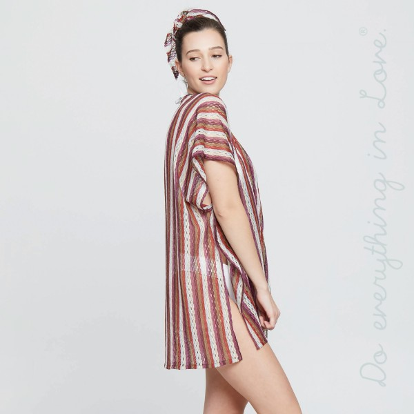 "Do everything in Love Brand Lightweight Multi Stripe Kimono.  - One size fits most 0-14 - Approximately 33"" L  - 100% Polyester"