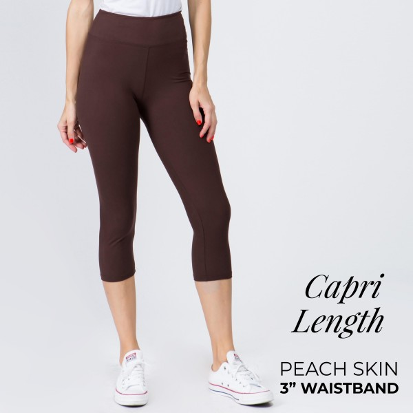 Wholesale mix brand solid seamless peach skin capri leggings rise waistband Ins